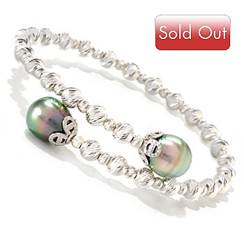 124-909 - Gem Insider Sterling Silver 9-10mm Tahitian Cultured Pearl Bangle Bracelet