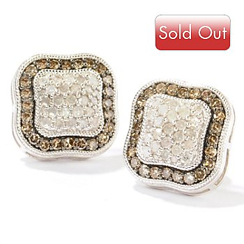 124-928 - Diamond Treasures Sterling Silver 1.00ctw Mocha & White Diamond Stud Earrings