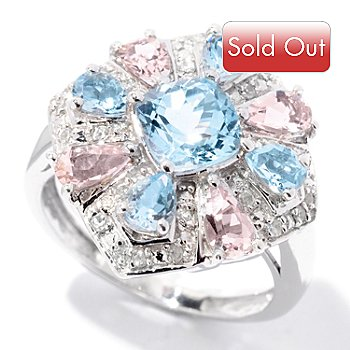 124-936 - NYC II 2.03ctw Aquamarine, White Zircon & Morganite Ring