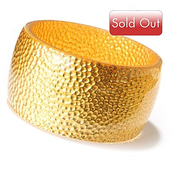 124-971 - Italian Designs with Stefano 24K ''Oro Puro'' Gold Foil & Resin Slip-on Bangle Bracelet