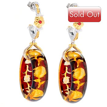 125-057 - Gems en Vogue II 20mm Carved Amber Intaglio & Orange Sapphire Hoop Drop Earrings