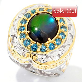 125-058 - Gems en Vogue II 11 x 9mm Ammolite Triplet & London Blue Topaz Ring