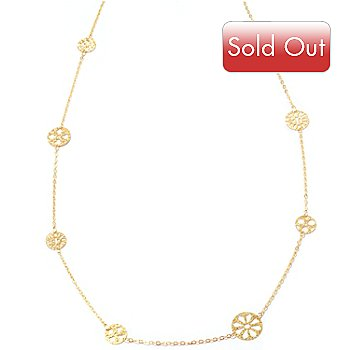 125-064 - Viale18K® Italian Gold 36'' Round Station Chain Necklace, 3.6 grams