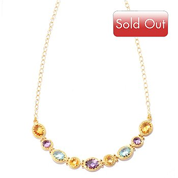 125-075 - Viale18K® Italian Gold 18'' Multi Gemstone Necklace