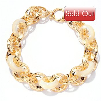 125-087 - Italian Designs with Stefano 14K Gold 8.5'' Mother-of-Pearl Bracelet