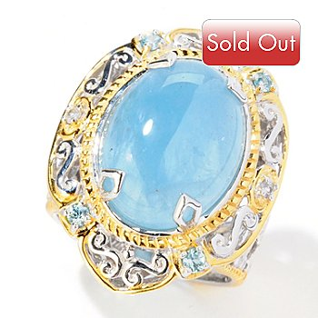 125-114 - Gems en Vogue II 16 x 12mm Aquamarine, Apatite & White Sapphire Ring