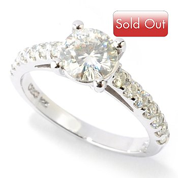 125-119 - Estrella Moissanite 14K White Gold 1.42 DEW Faceted Solitaire Ring