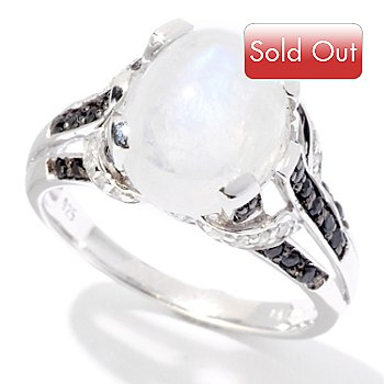 125-136 - Gem Insider Sterling Silver 4.89ctw Blue Moonstone with Black Spinel Ring