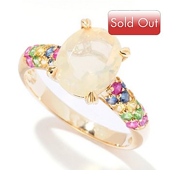 125-137 - Gem Insider 14K Gold 8 x 10mm Ethiopian Opal & Multi Gemstone Shank Ring