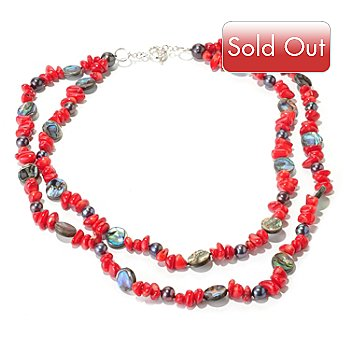 125-154 - 22'' Dyed Red Sea Bamboo, Black Freshwater Cultured Pearl & Abalone Necklace