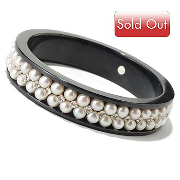 125-156 - Sterling Silver 8'' White Freshwater Cultured Pearl, Topaz & Black Jade Bangle Bracelet