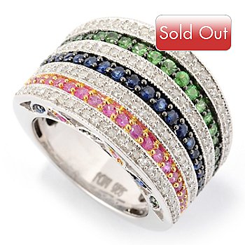125-176 - Gem Treasures Sterling Silver 2.36ctw Diamond & Multi Color Gem Seven-Row Ring