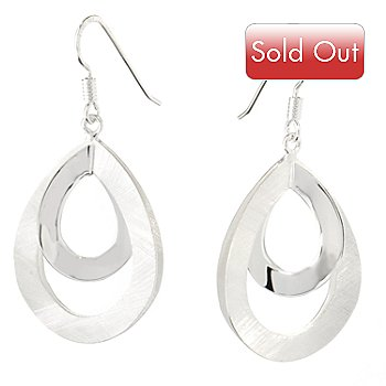 125-240 - SempreSilver™ Satin & Polished Teardrop Earrings