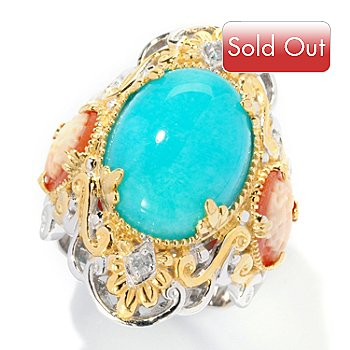 125-300 - Gems en Vogue II 16 x 12mm Amazonite & Sapphire Carved Cameo Ring