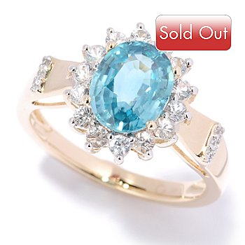 125-314 - Gem Treasures 14K Gold 3.00ctw Oval Blue Zircon & White Sapphire Frame Ring