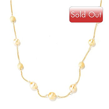 125-329 - 20'' 9-10mm Golden South Sea Cultured Pearl & Stardust Bead Station Necklace