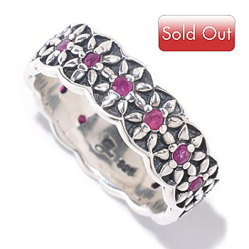 125-426 - Artisan Silver by Samuel B. Gemstone Flower Band Ring