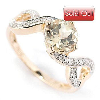 125-469 - Gem Insider 14K Gold 1.56ctw Round Green Zultanite & Diamond Ring