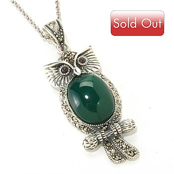 125-508 - Gem Treasures Sterling Silver 12 x 15mm Green Agate & Marcasite Owl Pendant