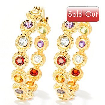 125-514 - Color by Design 2.41ctw Multi Gemstone Inside Out Hoop Earrings