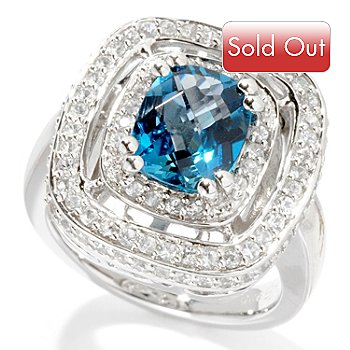 125-523 - Color by Design 3.10ctw London Blue Topaz & White Sapphire Halo Ring