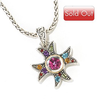 125-528 - Sterling Artistry by EFFY 3.38ctw Multi Gemstone Cross Pendant w/ Chain
