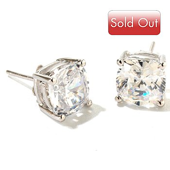 125-557 - Brilliante® Platinum Embraced™ 6.00 DEW Cushion Cut Stud Earrings