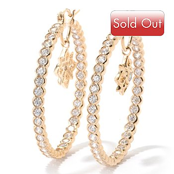 125-570 - Sonia Bitton for Brilliante® 2.12 DEW Bezel Set Star Inside-Out Hoop Earrings
