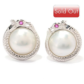 125-605 - Sterling Silver 10.5-11mm White Mabe Cultured Pearl & Ruby Dragon Earrings