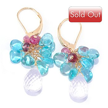 125-619 - Kristen Amato Blue Apatite, Pink Tourmaline & Rose Quartz Drop Earrings