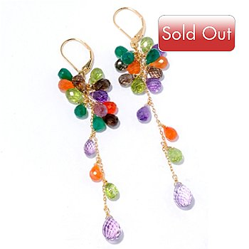 125-622 - Kristen Amato 23.68ctw Multi Gemstone Cluster Drop Earrings