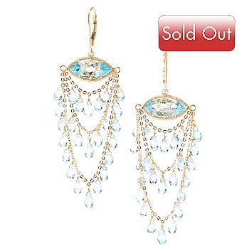 125-636 - Kristen Amato 34.45ctw Swiss Blue Topaz Chandelier Earrings