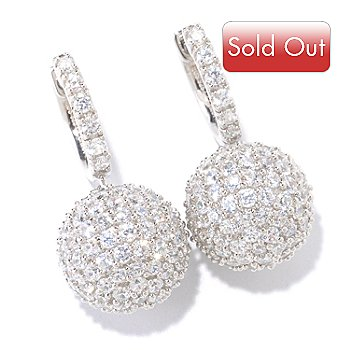 125-644 - Sonia Bitton for Brilliante® Platinum Embraced™ 3.96 DEW Pave Ball Drop Earrings