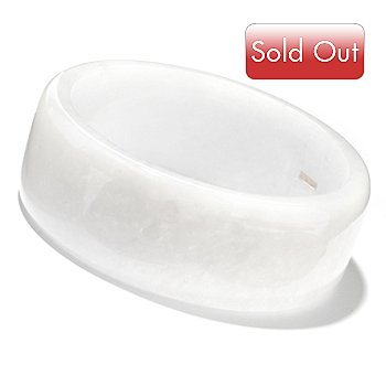 125-660 - 8.25'' White Smooth Kunlun Jade Slip On Bangle Bracelet