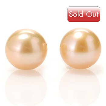 125-662 - 14K Gold 8.5-9mm Dyed Champagne Freshwater Cultured Pearl Stud Earrings