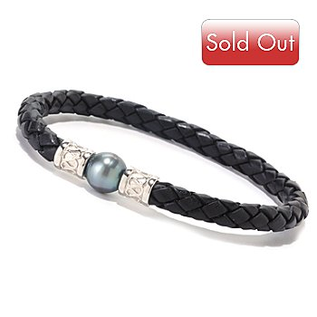 125-722 - Sterling Silver 8.5'' 10-11mm Cultured Pearl Braided Leather Cord Bracelet