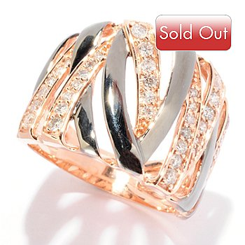 125-772 - EFFY 14K Rose Gold 0.60ctw Diamond Wide Band Ring