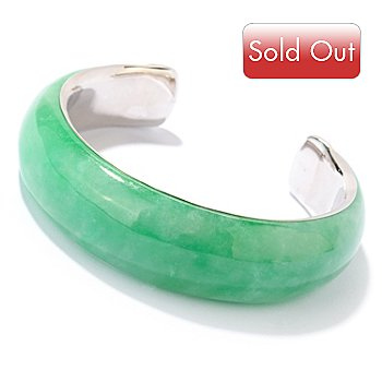 125-862 - Sterling Silver 20mm Green Jade Cuff Bracelet