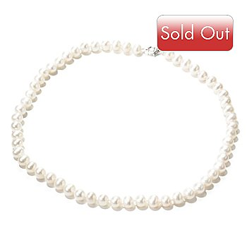 125-863 - Sterling Silver 18'' White Freshwater Cultured Pearl Necklace