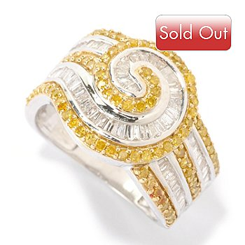 125-886 - Diamond Treasures Sterling Silver 1.25ctw White & Yellow Diamond Swirl Ring