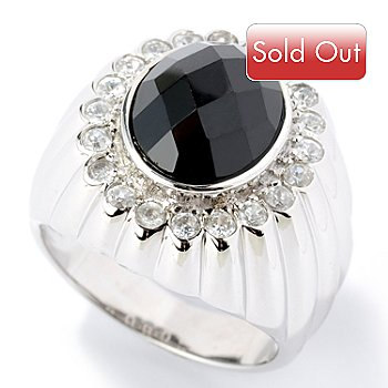 125-895 - Gem Treasures Men's Sterling Silver 12 x 10mm Black Spinel & White Zircon Ring