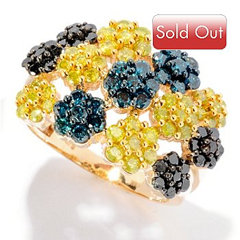 125-919 - Diamond Treasures 14K Gold 2.20ctw Multi Color Diamond Flower Station Ring