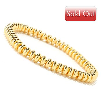 125-966 - Milano Luxe Gold Embraced™ Polished Rondelle Stretch Bracelet