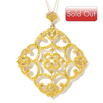 125-993 - Diamond Treasures 14K Gold 0.75ctw Yellow Diamond Scrollwork Pendant w/ Chain