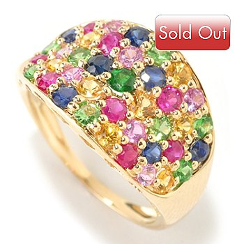 125-996 - Gem Treasures 14K Gold 2.40ctw Multi Gem Pave Ring