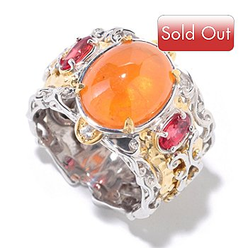 126-007 - Gems en Vogue II Spessartite Garnet & Orange Sapphire Martellato Band Ring