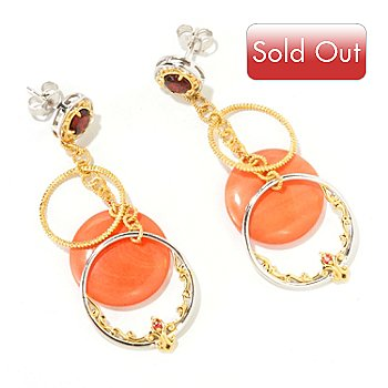 126-031 - Gems en Vogue II 22.30ctw Bamboo Coral, Red Garnet & Orange Sapphire Drop Earrings
