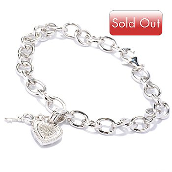 126-052 - Diamond Treasures Sterling Silver 0.10ctw Diamond Heart & Key Charm Bracelet