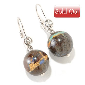 126-092 - Gem Insider Sterling Silver Round Opal Bead & White Topaz Earrings