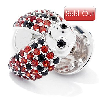 126-104 - NYC II 1.27ctw Red Garnet & Black Spinel Ladybug Pin